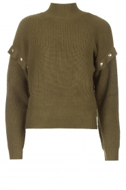 Liu Jo |  Knitted sweater with golden details Diana | green  | Picture 1
