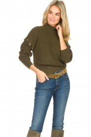 Liu Jo |  Knitted sweater with golden details Diana | green  | Picture 4