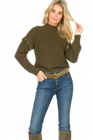 Liu Jo |  Knitted sweater with golden details Diana | green  | Picture 6