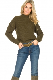 Liu Jo |  Knitted sweater with golden details Diana | green  | Picture 2