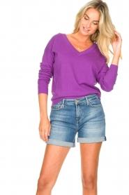 Les Favorites |  Basic cotton sweater Day | purple  | Picture 4