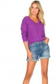 Les Favorites |  Basic cotton sweater Day | purple  | Picture 5