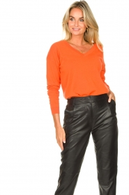Les Favorites |  Basic cotton sweater Day | orange  | Picture 4
