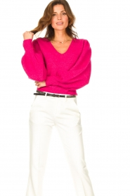 Liu Jo |  Sweater with puff sleeves Viccy | pink  | Picture 2