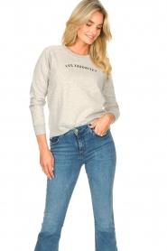 Les Favorites | Basic katoenen sweatshirt Posy | grijs   | Afbeelding 4