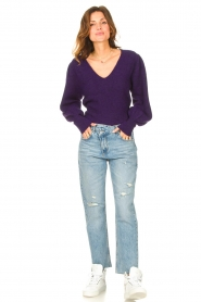 Liu Jo |  Sweater with puff sleeves Viccy | purple  | Picture 3