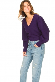 Liu Jo |  Sweater with puff sleeves Viccy | purple  | Picture 5