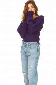 Liu Jo |  Sweater with puff sleeves Viccy | purple  | Picture 4