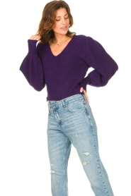 Liu Jo |  Sweater with puff sleeves Viccy | purple  | Picture 2