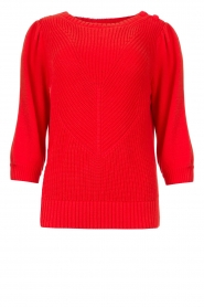 Les Favorites |  Knitted cotton sweater Scotty | red  | Picture 1