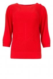 Les Favorites | Gebreide katoenen trui Scotty | rood   | Afbeelding 1