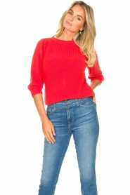 Les Favorites |  Knitted cotton sweater Scotty | red  | Picture 4