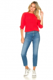 Les Favorites |  Knitted cotton sweater Scotty | red  | Picture 3