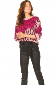 Liu Jo |  Sweater with animal print Jace | pink  | Picture 4