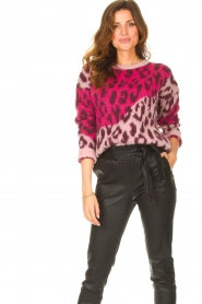 Liu Jo |  Sweater with animal print Jace | pink  | Picture 2