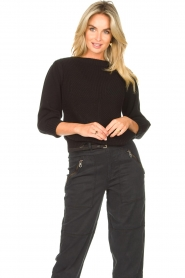 Les Favorites |  Knitted cotton sweater Scotty | black  | Picture 4