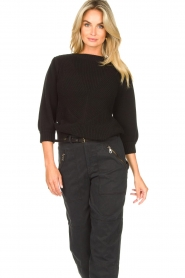 Les Favorites |  Knitted cotton sweater Scotty | black  | Picture 5