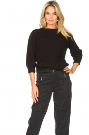 Les Favorites |  Knitted cotton sweater Scotty | black  | Picture 2