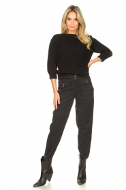 Les Favorites |  Knitted cotton sweater Scotty | black  | Picture 3