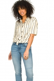 Les Favorites |  Striped blouse Hope | natural  | Picture 4