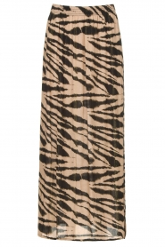 Les Favorites |  Maxi skirt with zebra print Charlotte | black  | Picture 1