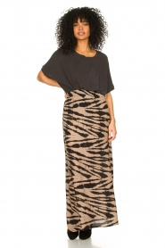 Les Favorites |  Maxi skirt with zebra print Charlotte | black  | Picture 3