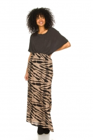 Les Favorites |  Maxi skirt with zebra print Charlotte | black  | Picture 2