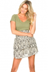 Les Favorites |  Skirt with floral print and lurex Isabell | white  | Picture 4