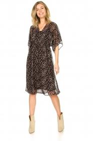 Les Favorites |  Midi floral print dress with lurex Charlie | black  | Picture 3
