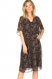 Les Favorites |  Midi floral print dress with lurex Charlie | black  | Picture 2