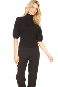 Liu Jo    Sweater with puff sleeves Ella   black    Picture 2