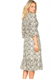 Les Favorites |  Midi floral print dress with lurex Ella | white  | Picture 7