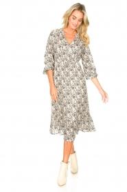 Les Favorites |  Midi floral print dress with lurex Ella | white  | Picture 3