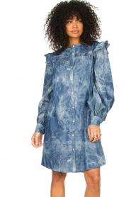 Les Favorites |  Cotton dress with puff sleeves Dolly | blue  | Picture 4