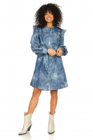 Les Favorites |  Cotton dress with puff sleeves Dolly | blue  | Picture 3