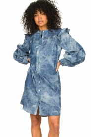 Les Favorites |  Cotton dress with puff sleeves Dolly | blue  | Picture 2