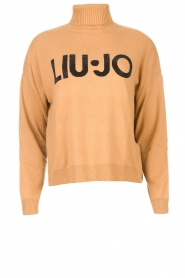 Liu Jo |  Turtleneck sweater with logo Camila | camel  | Picture 1