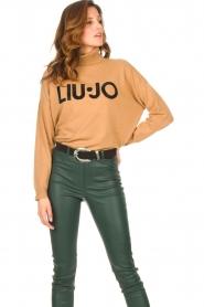 Liu Jo |  Turtleneck sweater with logo Camila | camel  | Picture 4