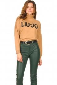 Liu Jo |  Turtleneck sweater with logo Camila | camel  | Picture 5