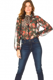 Liu Jo |  See-through blouse with print Bea | black  | Picture 2