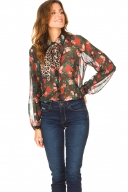 Liu Jo |  See-through blouse with print Bea | black  | Picture 4