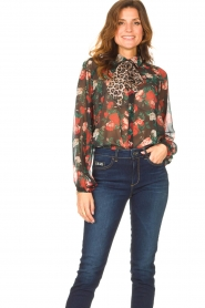Liu Jo |  See-through blouse with print Bea | black  | Picture 5
