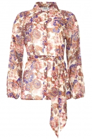 Liu Jo |  See-through blouse with print Bea | purple  | Picture 1
