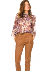 Liu Jo |  See-through blouse with print Bea | purple  | Picture 2