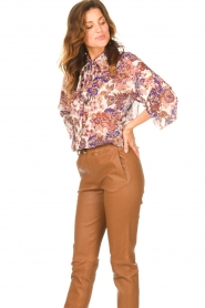 Liu Jo |  See-through blouse with print Bea | purple  | Picture 4