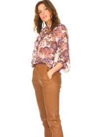 Liu Jo |  See-through blouse with print Bea | purple  | Picture 5