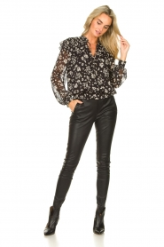 Liu Jo |  Top with floral print Ray | black  | Picture 3