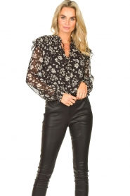 Liu Jo |  Top with floral print Ray | black  | Picture 2