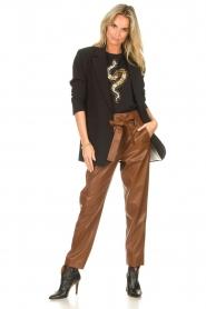 Liu Jo |  Faux leather paperbag pants Lia | brown  | Picture 2