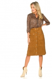Set |  Suede midi skirt Ingrid | brown  | Picture 3